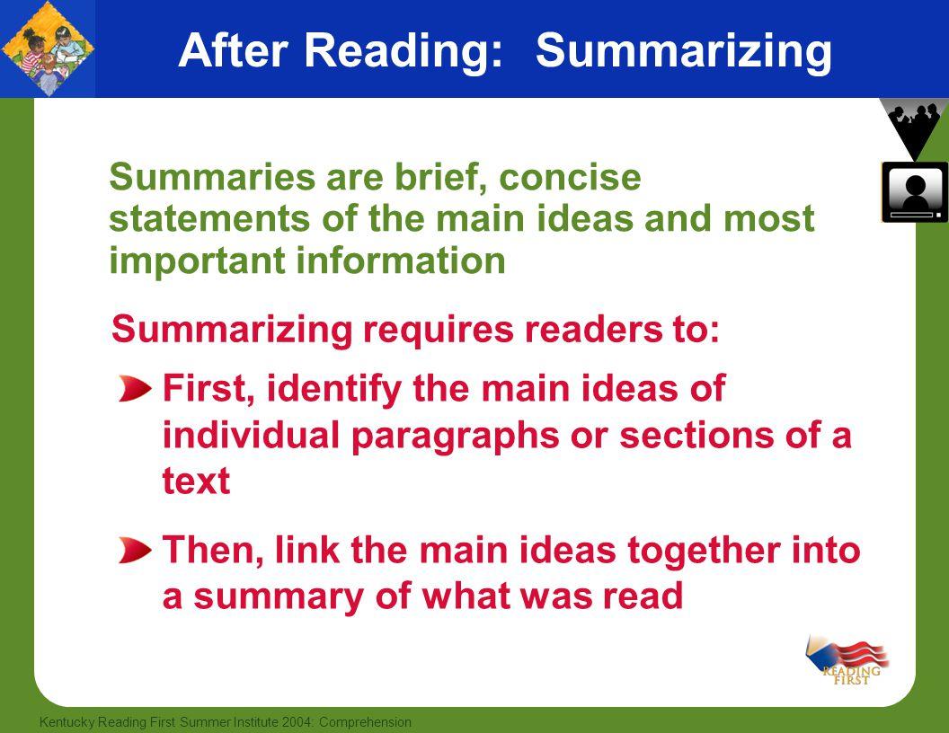 After Reading: Summarizing