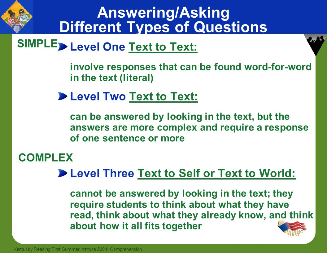 Answering/Asking Different Types of Questions