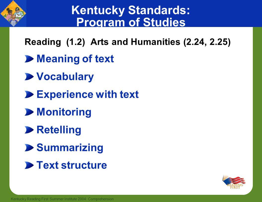 Kentucky Standards: Program of Studies
