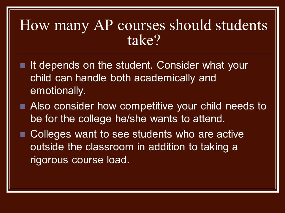 How many AP courses should students take