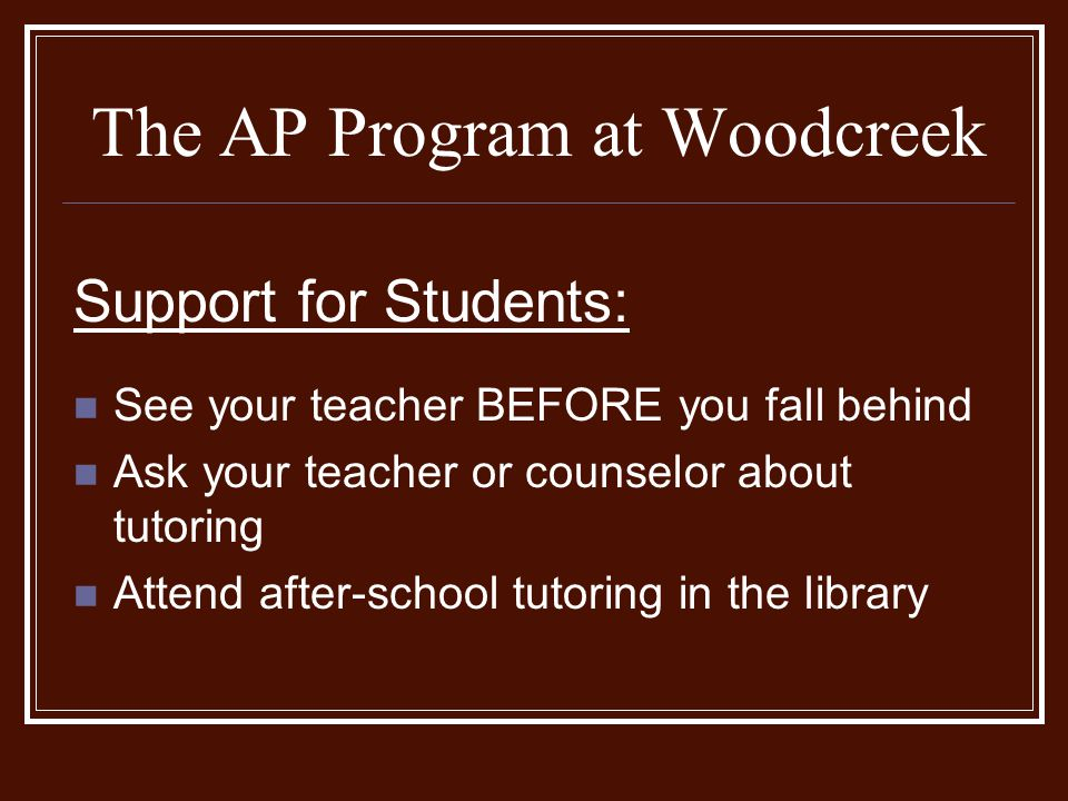 The AP Program at Woodcreek