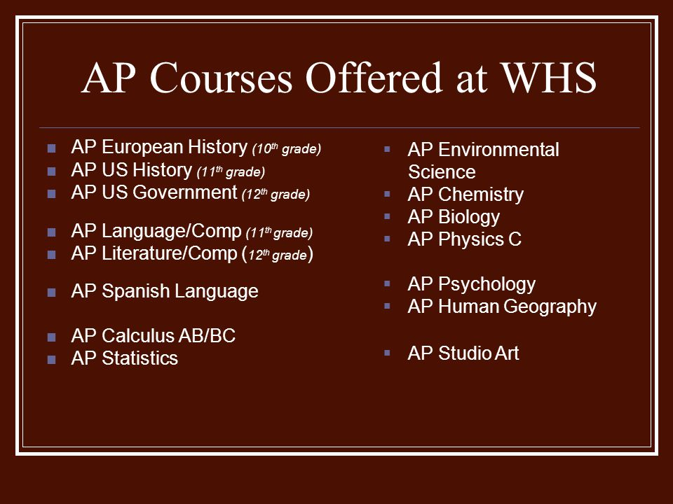 AP Courses Offered at WHS