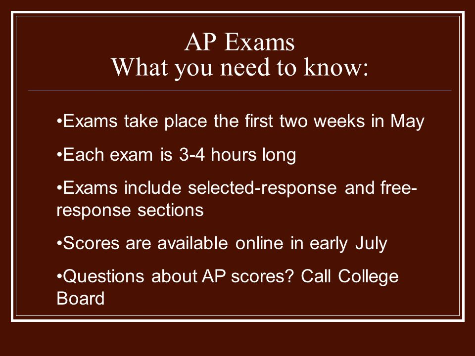 AP Exams What you need to know: