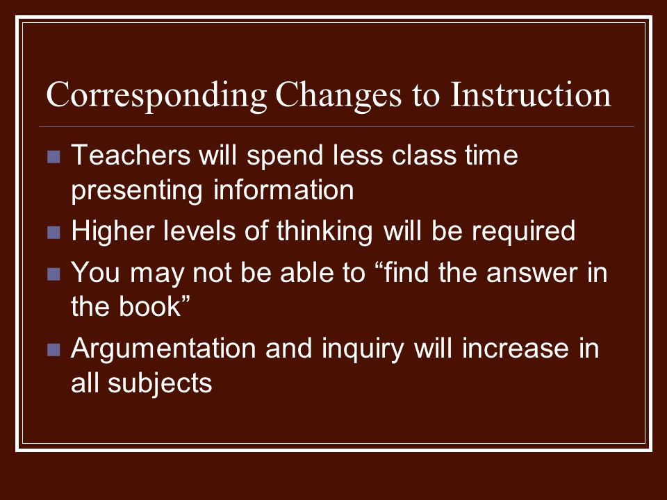 Corresponding Changes to Instruction