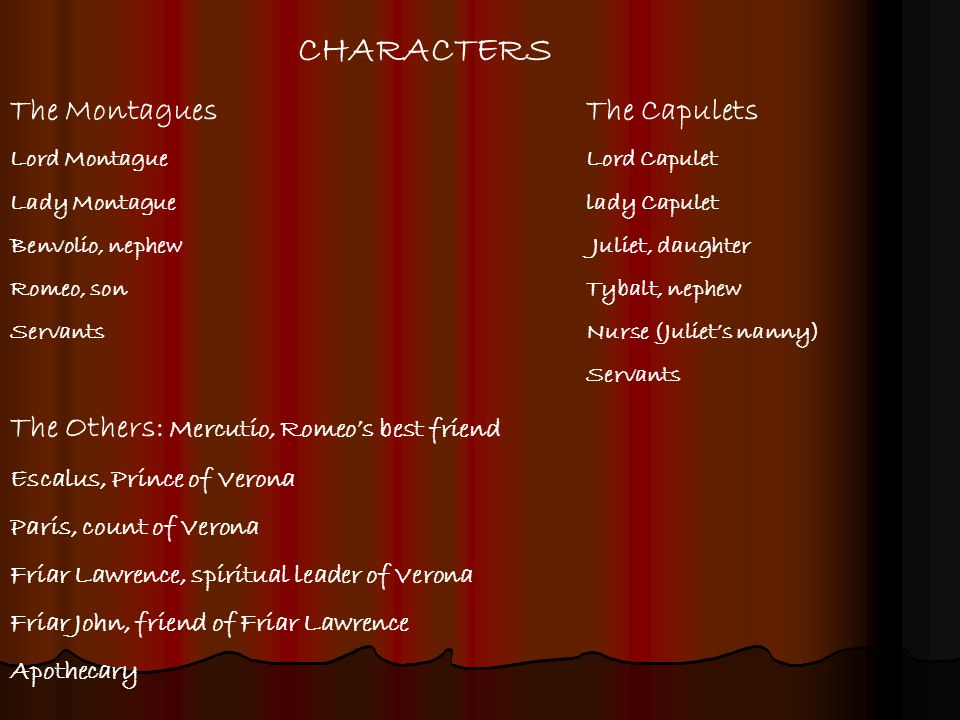 CHARACTERS The Montagues The Capulets