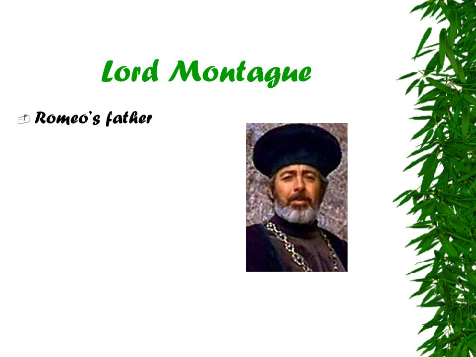 Lord Montague Romeo's father
