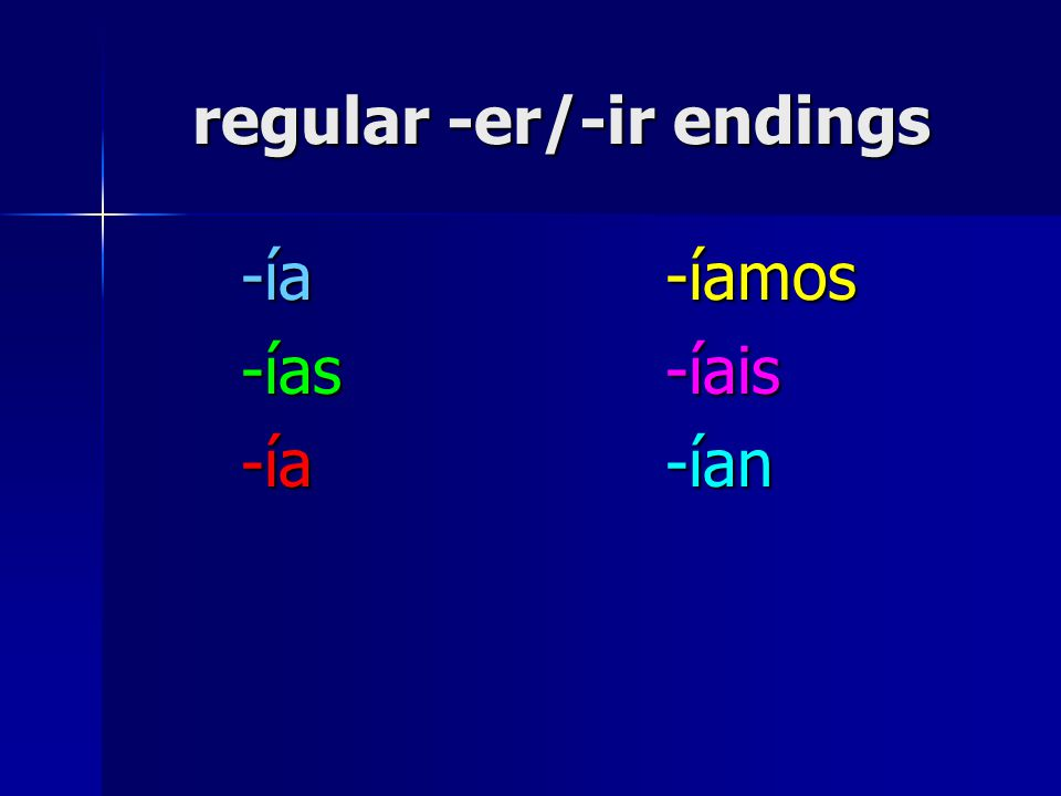 regular -er/-ir endings