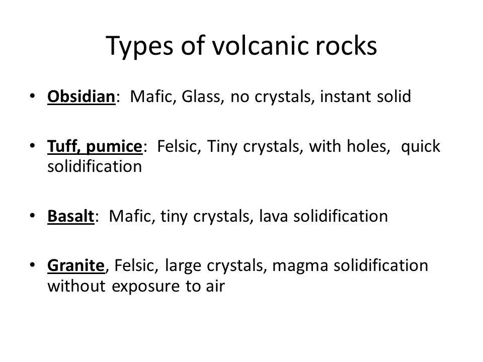 Types of volcanic rocks