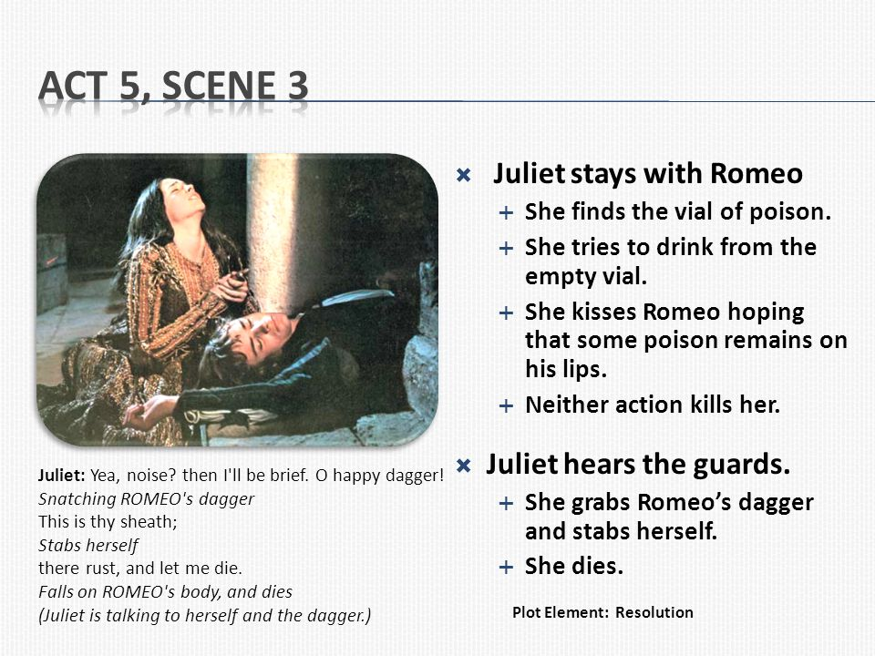 Act 5, Scene 3 Juliet stays with Romeo Juliet hears the guards.