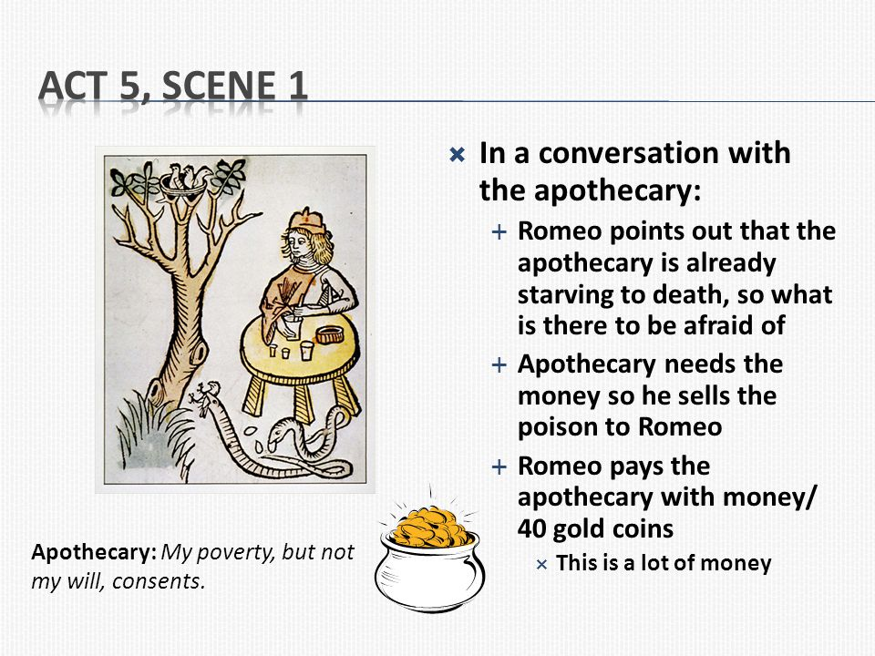 Act 5, Scene 1 In a conversation with the apothecary: