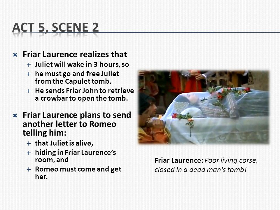 Act 5, Scene 2 Friar Laurence realizes that