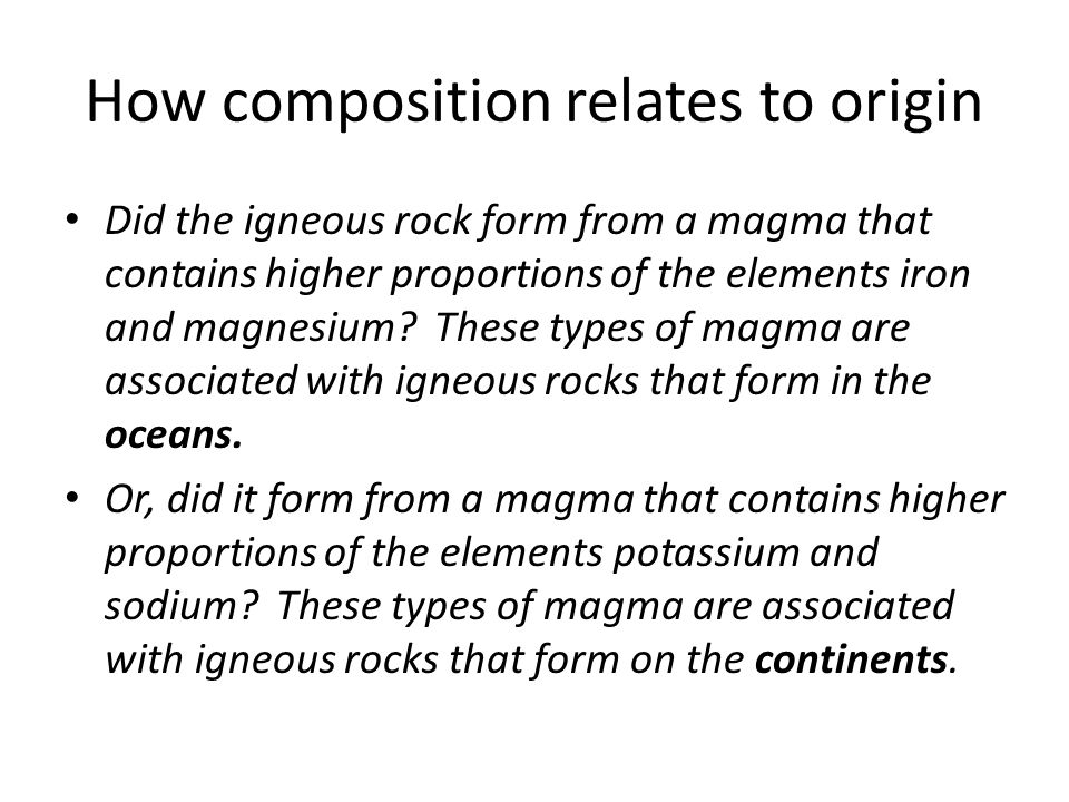 How composition relates to origin