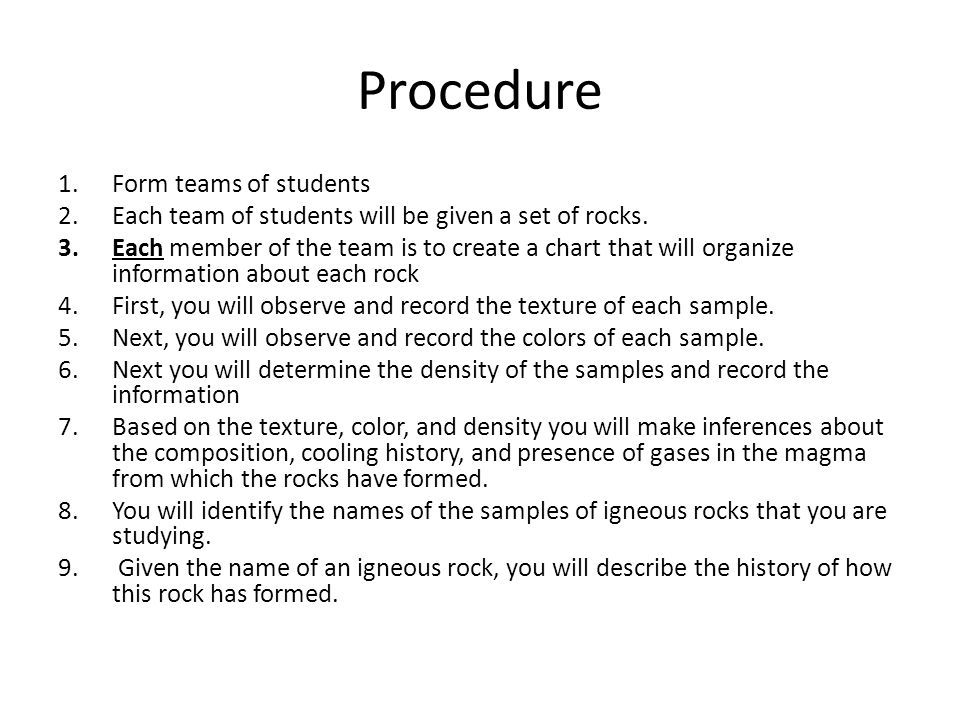 Procedure Form teams of students