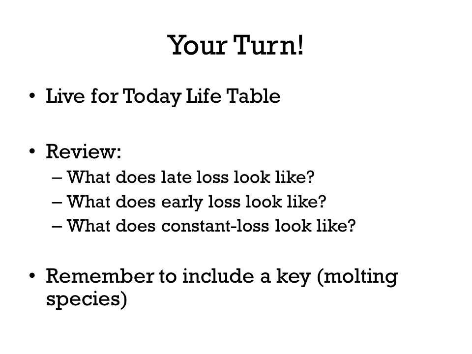 Your Turn! Live for Today Life Table Review: