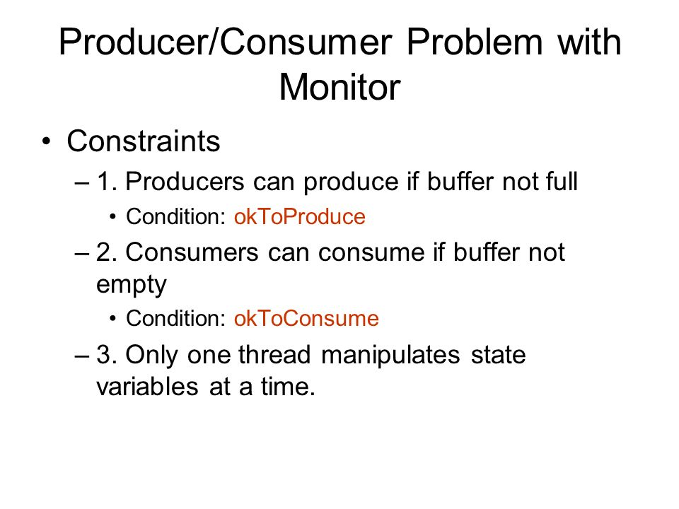 Producer/Consumer Problem with Monitor