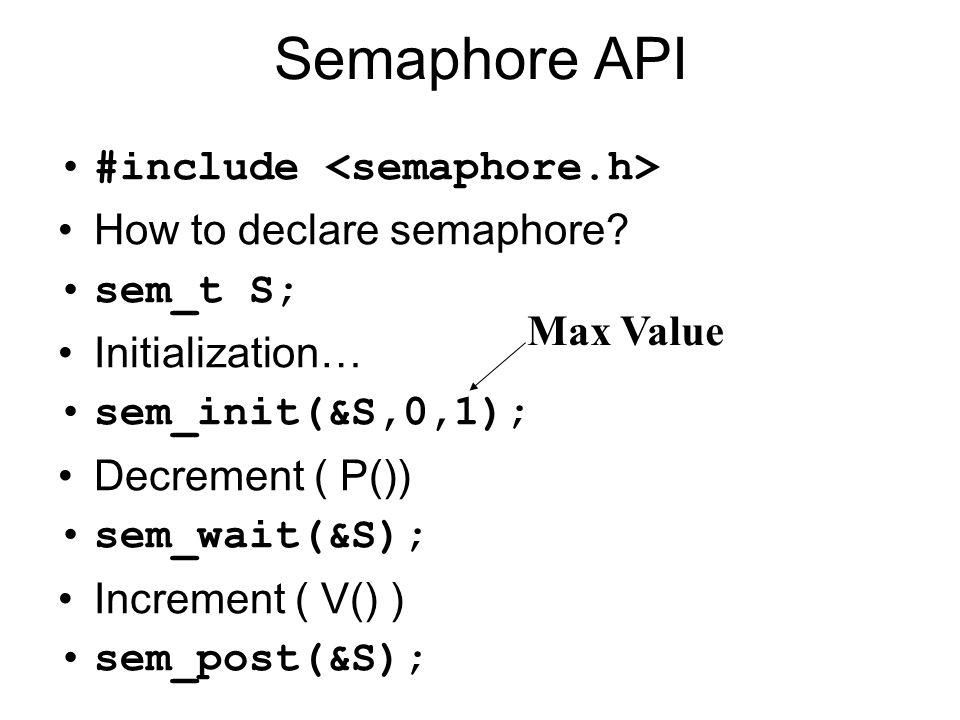 Semaphore API #include <semaphore.h> How to declare semaphore