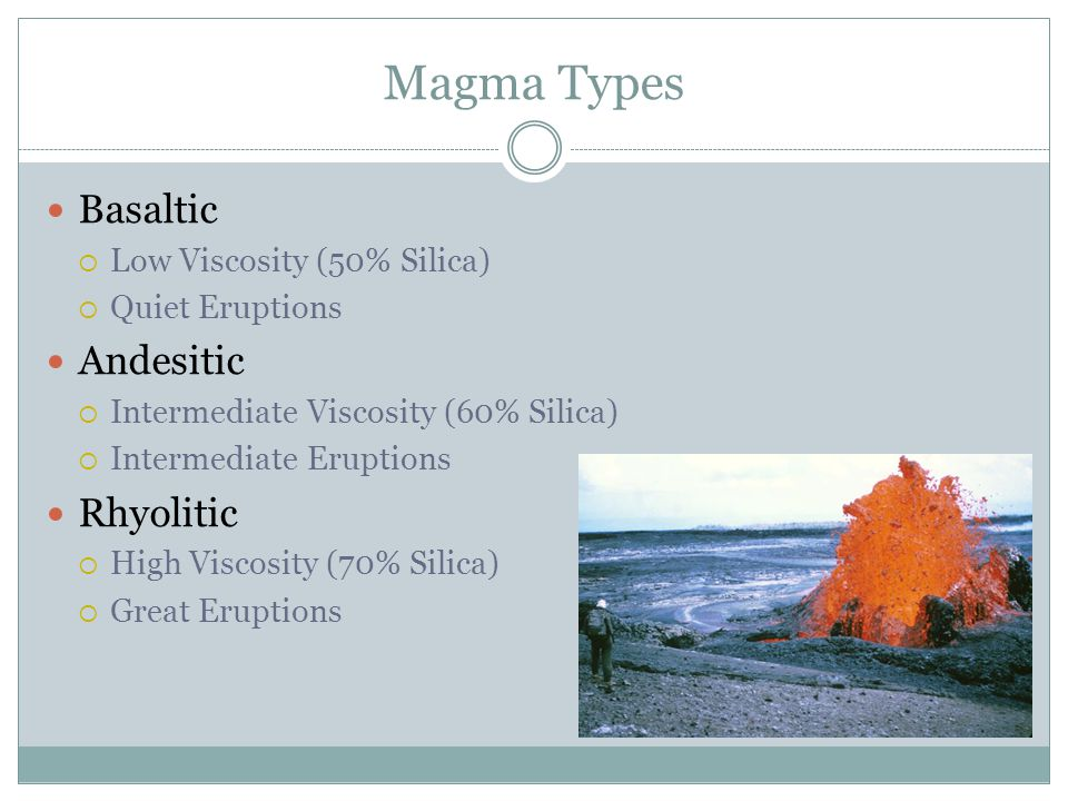 Magma Types Basaltic Andesitic Rhyolitic Low Viscosity (50% Silica)