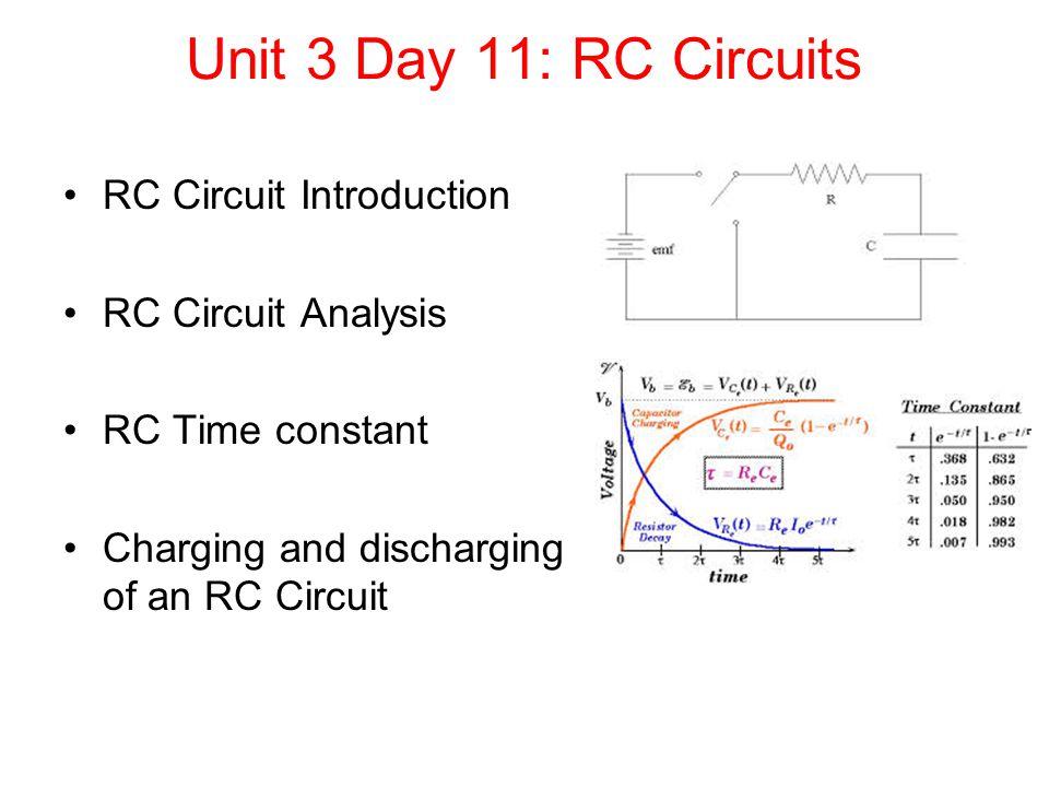 unit 3 day 11 rc circuits rc circuit introduction rc time constant inductance r c time constant circuit diagram #15