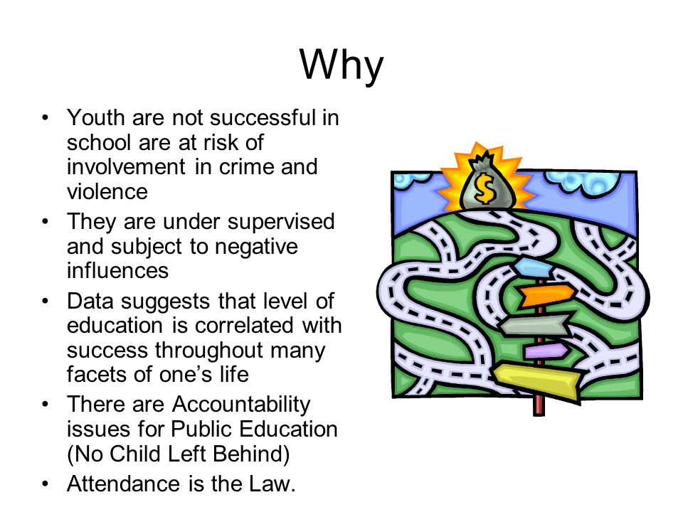 Why Youth are not successful in school are at risk of involvement in crime and violence.