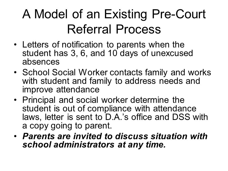 A Model of an Existing Pre-Court Referral Process
