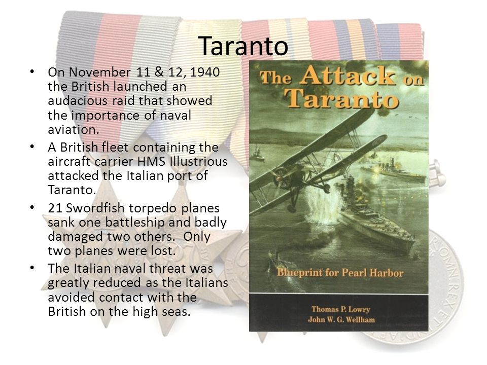 Taranto On November 11 & 12, 1940 the British launched an audacious raid that showed the importance of naval aviation.