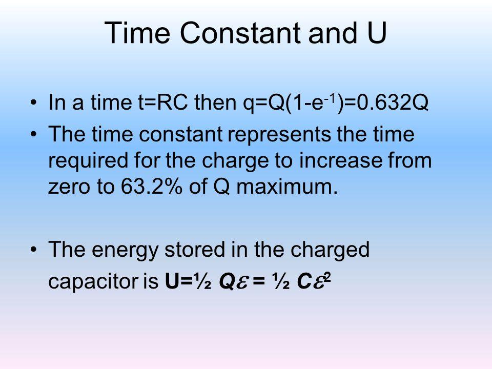 Time Constant and U In a time t=RC then q=Q(1-e-1)=0.632Q