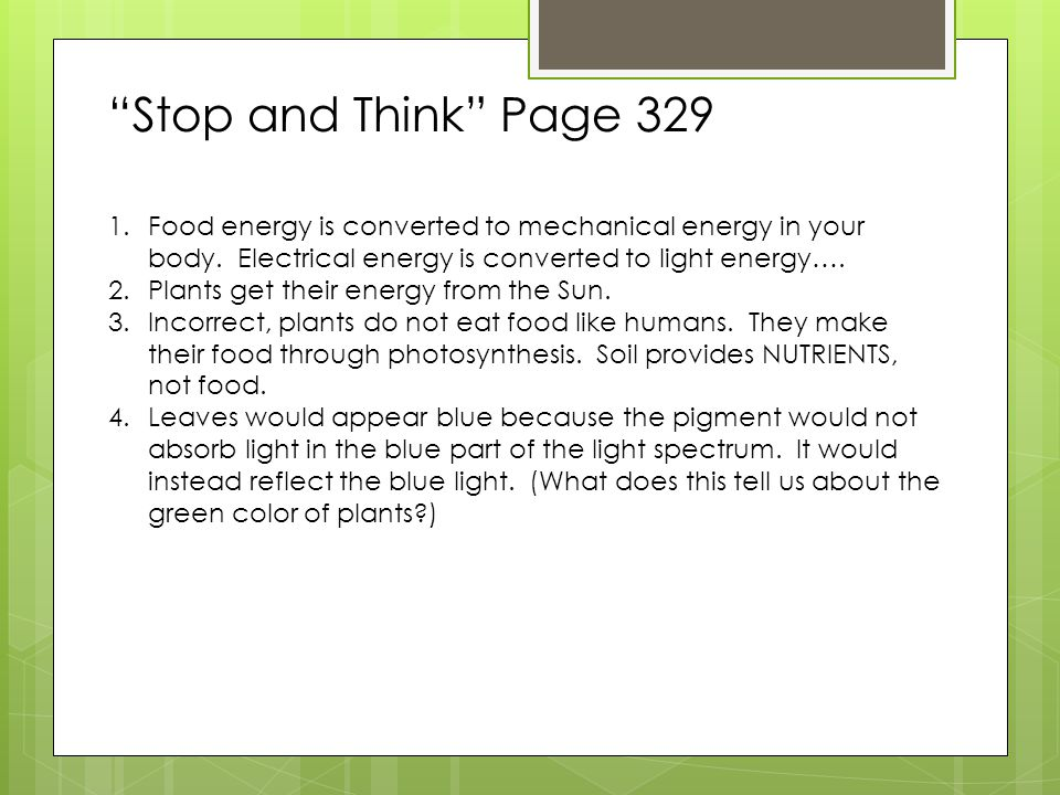 Stop and Think Page 329 Food energy is converted to mechanical energy in your body. Electrical energy is converted to light energy….