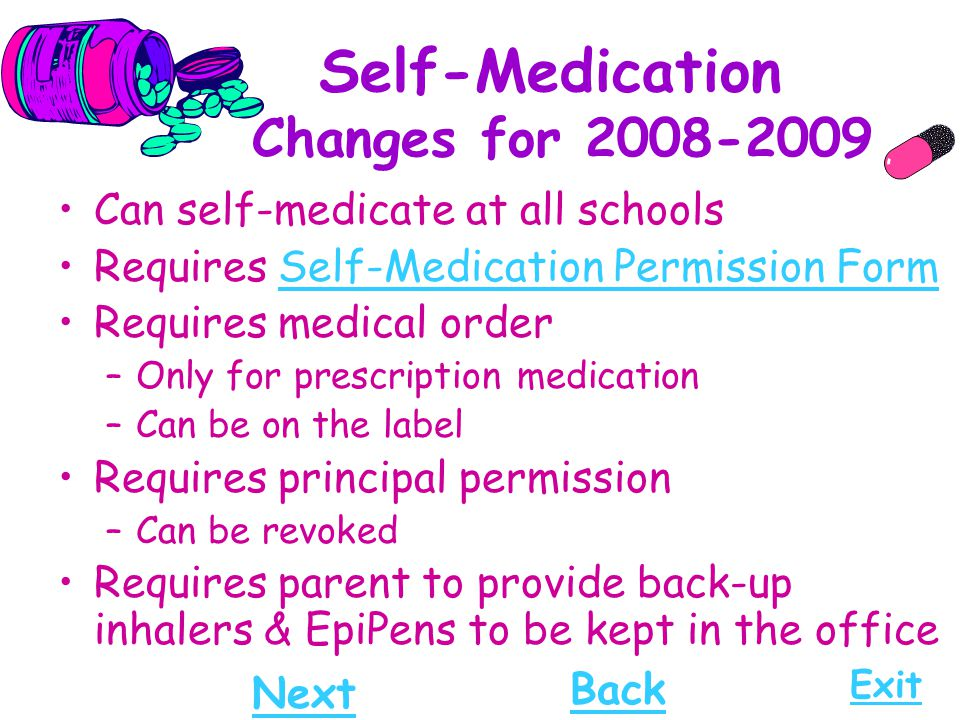 Self-Medication Changes for 2008-2009