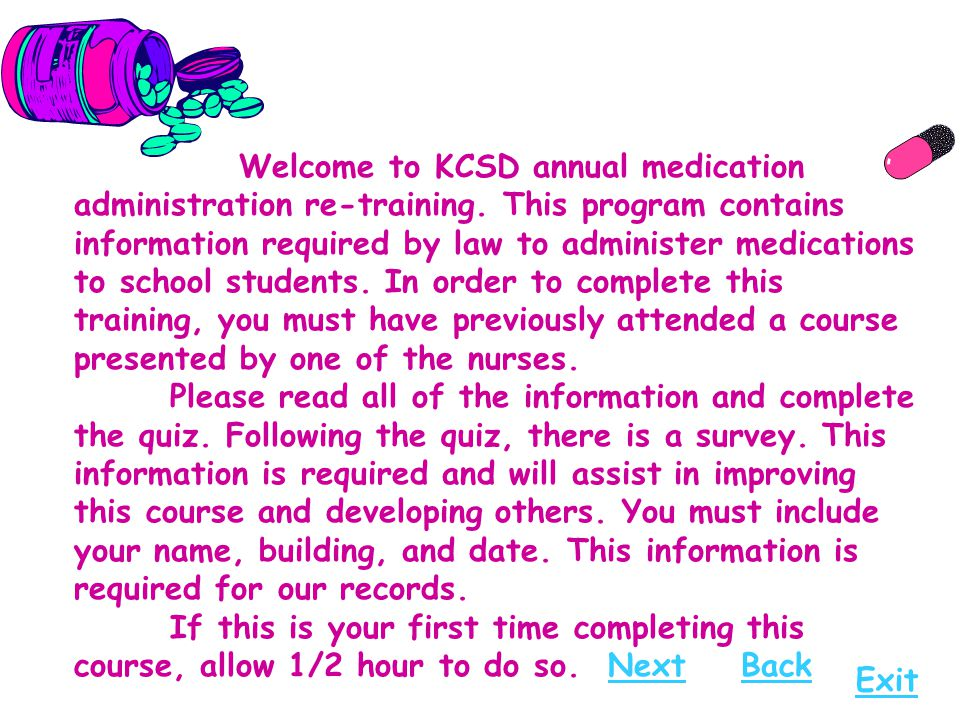 Welcome to KCSD annual medication administration re-training