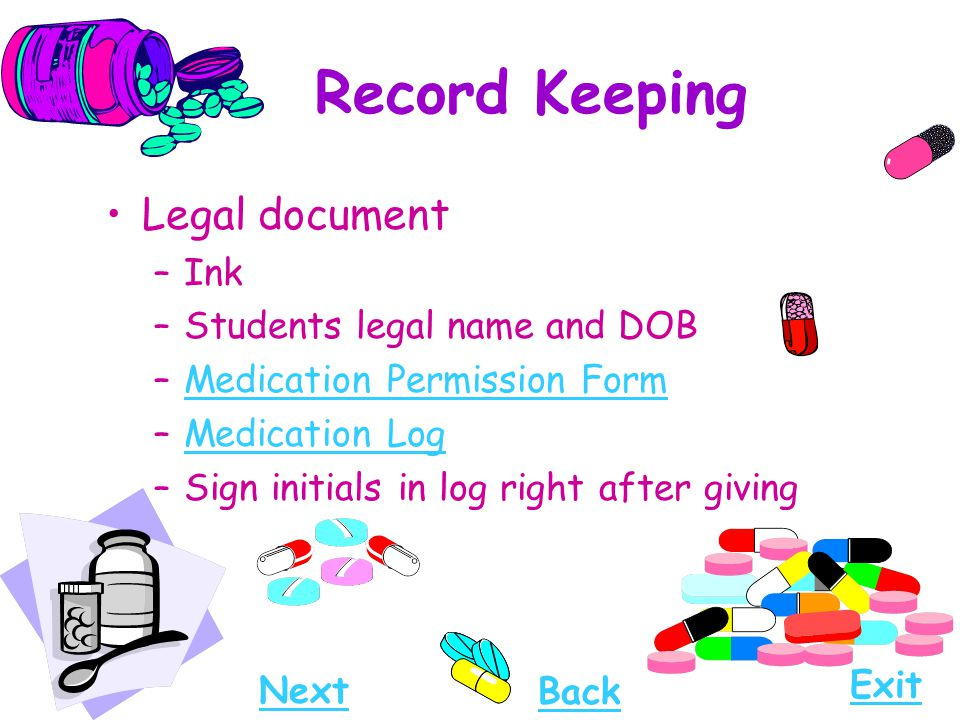 Record Keeping Legal document Ink Students legal name and DOB