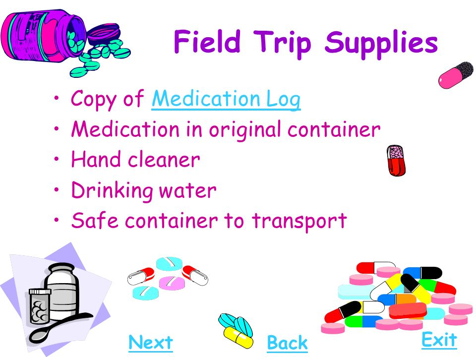 Field Trip Supplies Copy of Medication Log