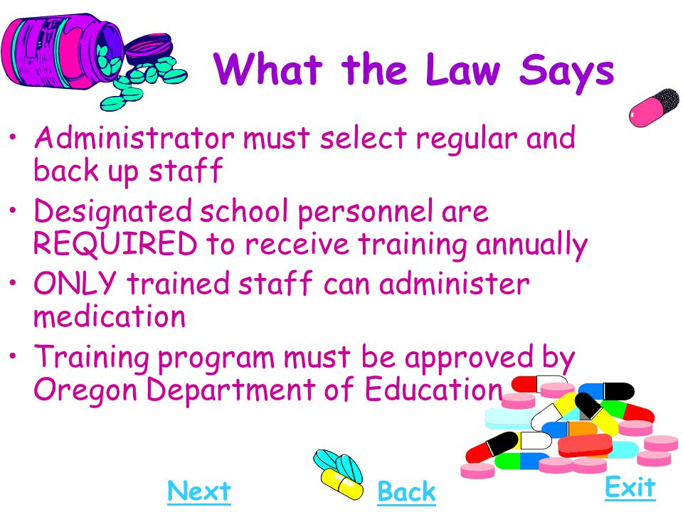 What the Law Says Administrator must select regular and back up staff