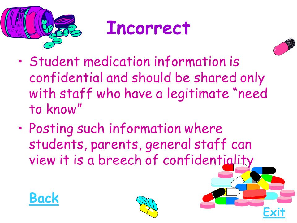Incorrect Student medication information is confidential and should be shared only with staff who have a legitimate need to know