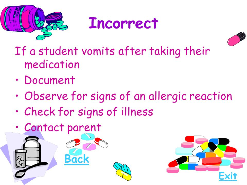 Incorrect If a student vomits after taking their medication Document