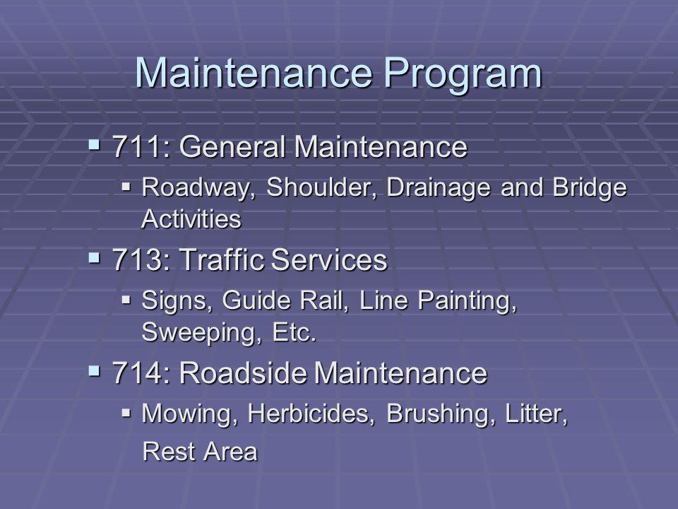 Maintenance Program 711: General Maintenance 713: Traffic Services