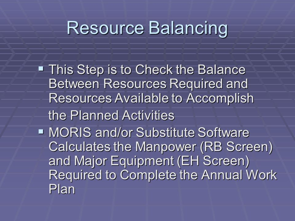 Resource Balancing This Step is to Check the Balance Between Resources Required and Resources Available to Accomplish.