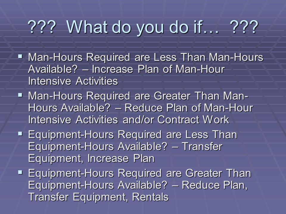 What do you do if… Man-Hours Required are Less Than Man-Hours Available – Increase Plan of Man-Hour Intensive Activities.