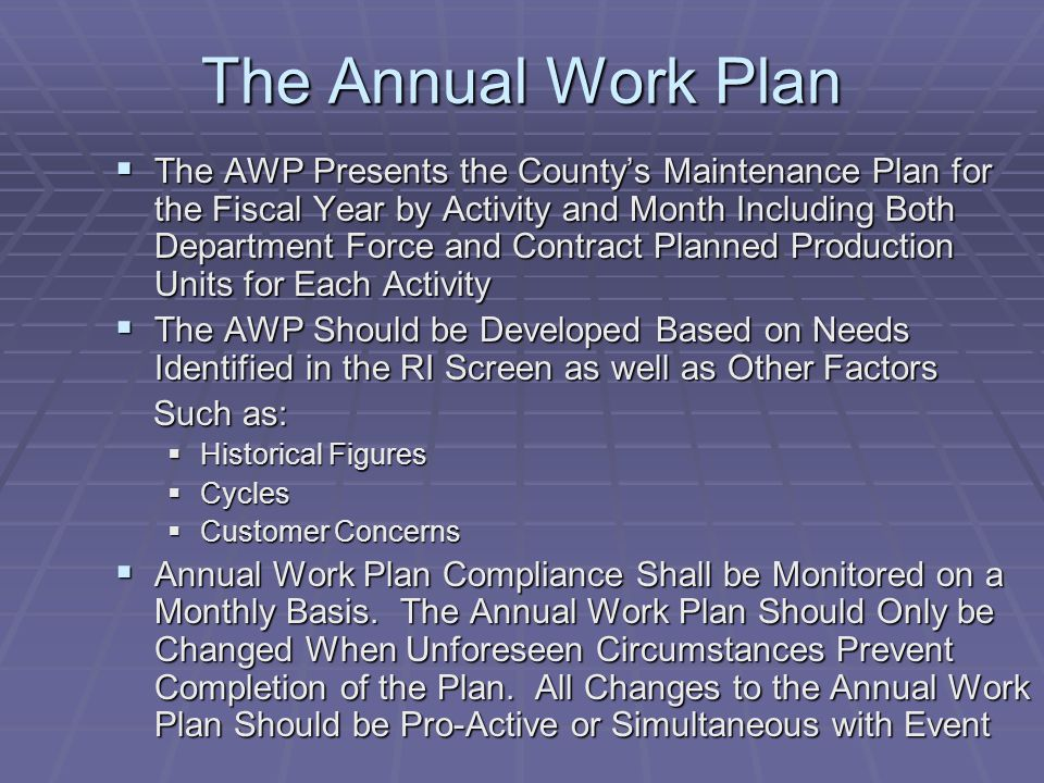 The Annual Work Plan
