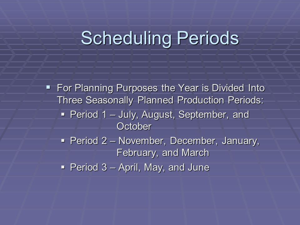 Scheduling Periods For Planning Purposes the Year is Divided Into Three Seasonally Planned Production Periods: