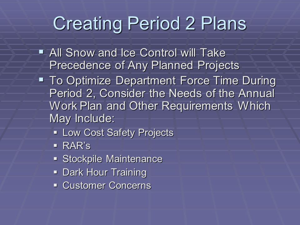 Creating Period 2 Plans All Snow and Ice Control will Take Precedence of Any Planned Projects.