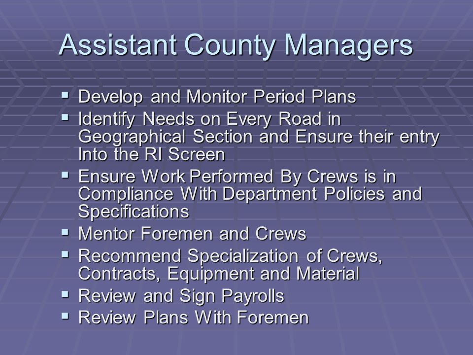 Assistant County Managers