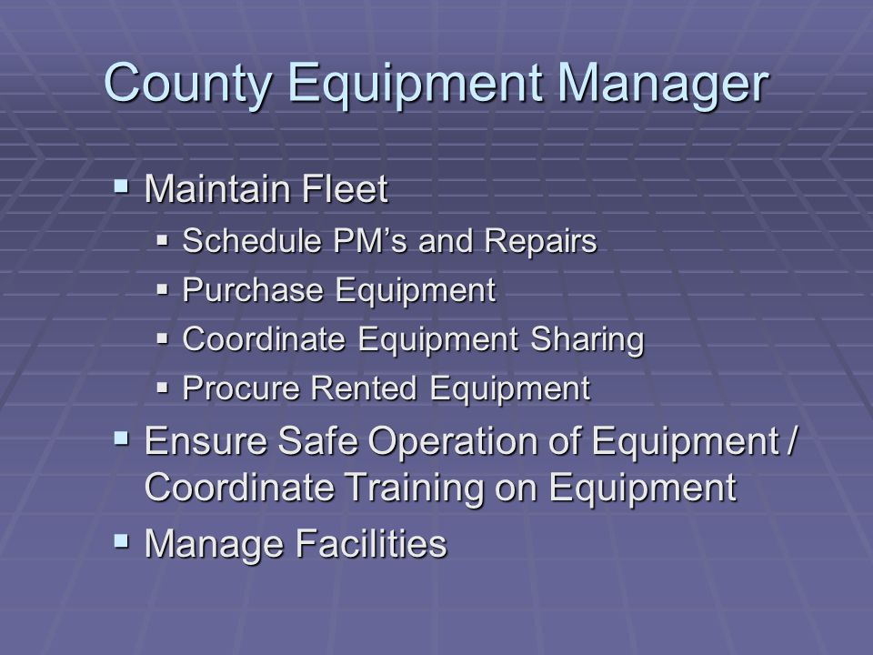 County Equipment Manager