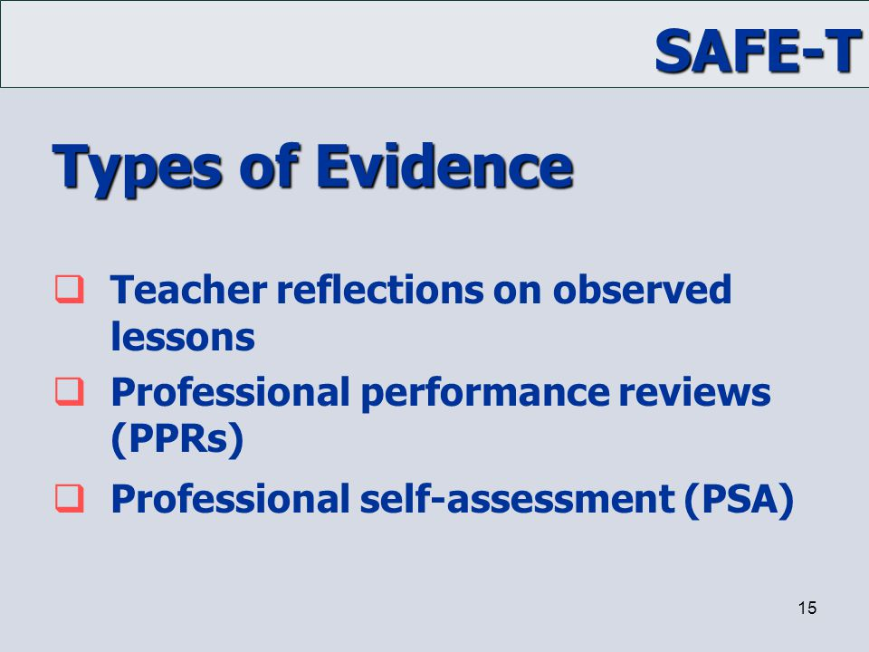 Types of Evidence Teacher reflections on observed lessons