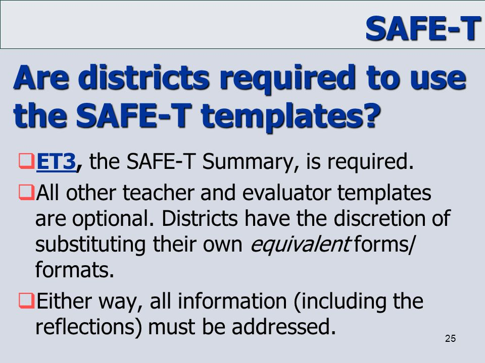 Are districts required to use the SAFE-T templates