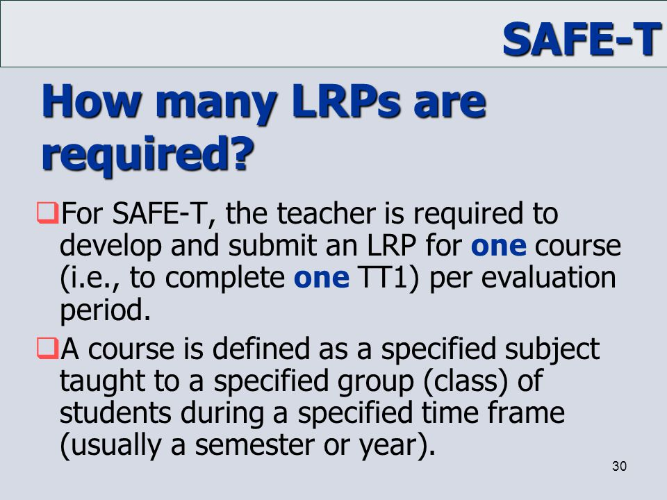 How many LRPs are required