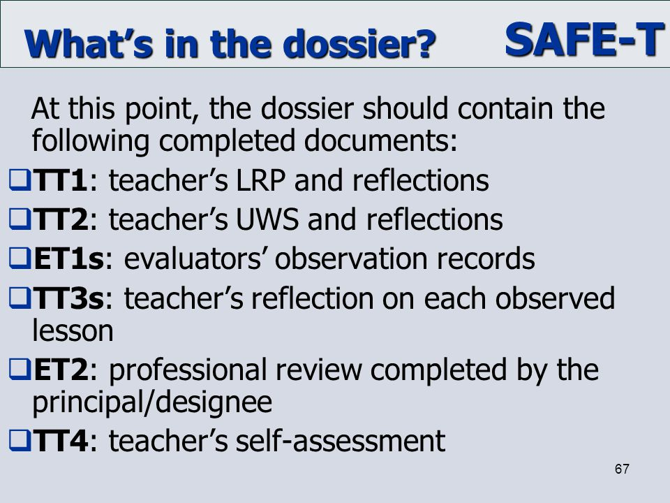 What's in the dossier TT1: teacher's LRP and reflections