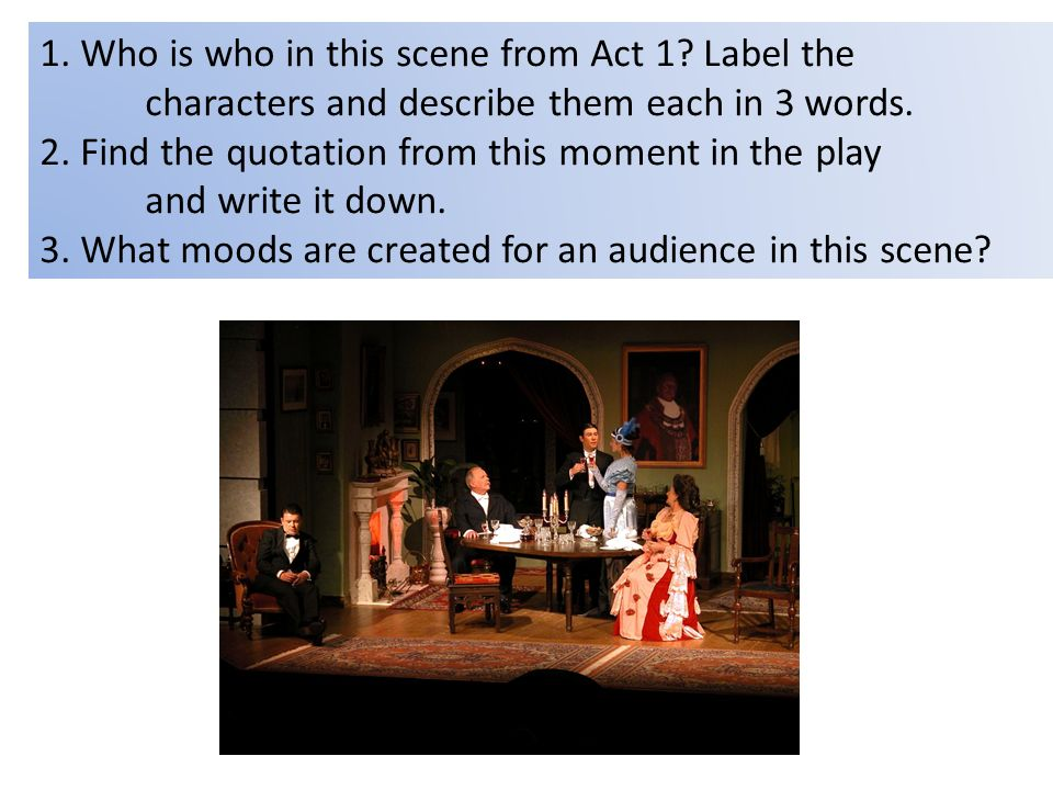 1. Who is who in this scene from Act 1. Label the