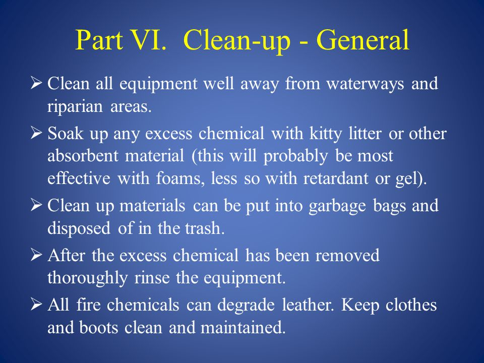 Part VI. Clean-up - General
