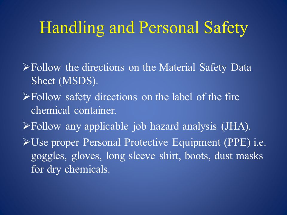 Handling and Personal Safety