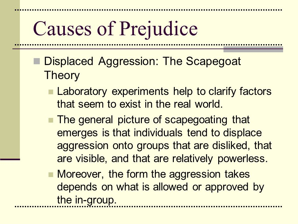 Causes of Prejudice Displaced Aggression: The Scapegoat Theory